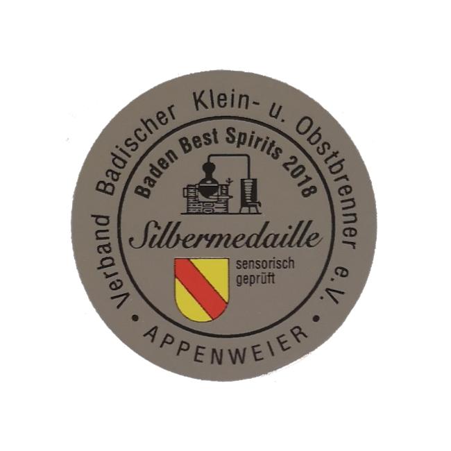 Silber Medaille für Brennlust von Baden Best Spirits 2018