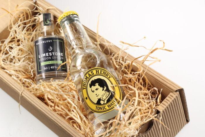 BRENNLUST Gint & Tonic Geschenk Set, LIMESTONE Gin Green Edition 5 cl + Thomas Henry Tonic Water 20 cl