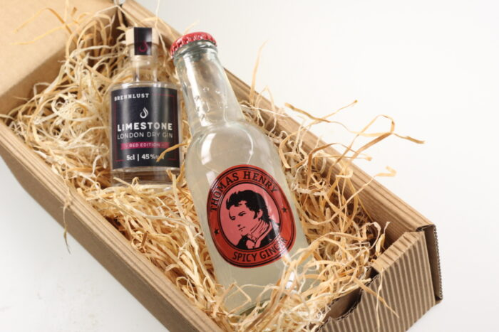 BRENNLUST Gint & Tonic Geschenk Set, LIMESTONE Gin Red Edition 5 cl + Thomas Henry Spicy Ginger 20 cl